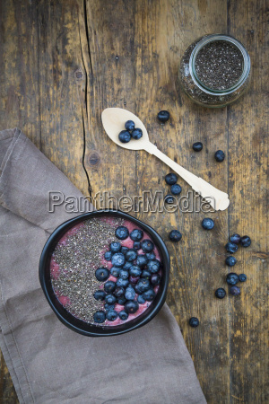 blueberry smoothie with chia seeds in