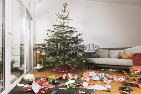 living room on christmas morning with