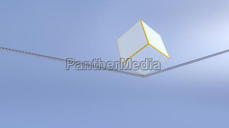 3d rendering balance objekt wuerfel auf