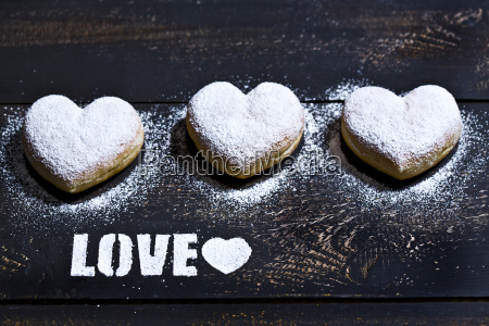 the word love stenciled with icing