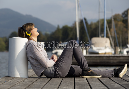 austria mondsee young woman sitting on