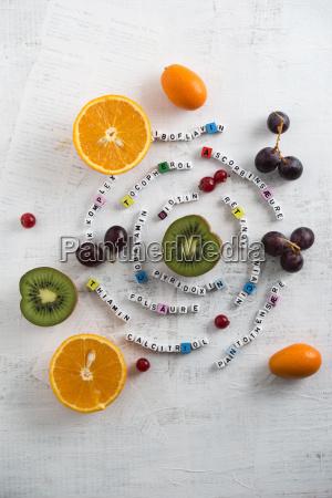 fruechte orangen kiwis trauben johannisbeere und