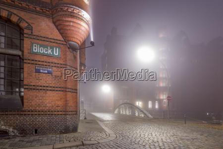germany hamburg fog in the historic