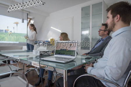 frau leitet praesentation mit projektor im