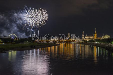 germany dresden firework old town festival