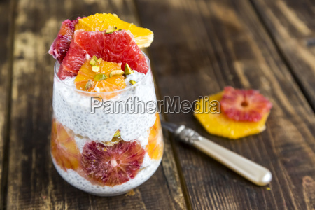 chia pudding and slices of orange