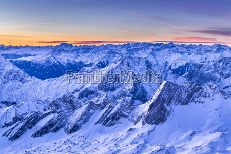 germany bavaria sunrise on zugspitze view
