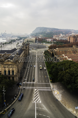 spain barcelona cityscape with street