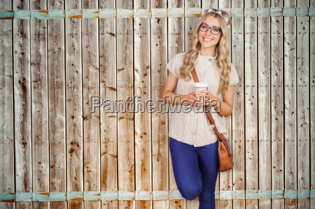 composite image of gorgeous smiling blonde