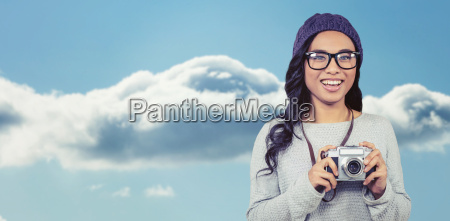 composite image of asian woman holding