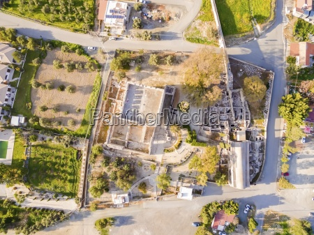 aerial view of medieval castle of