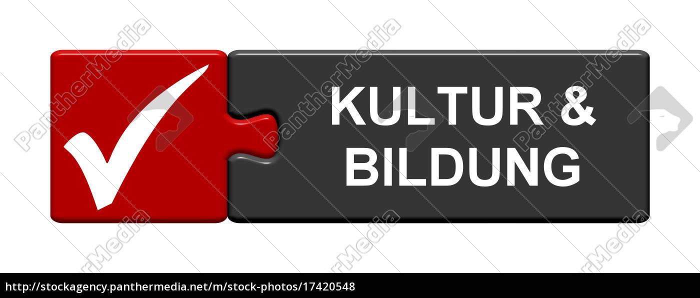 puzzle, button, zeigt, kultur, &, bildung - 17420548