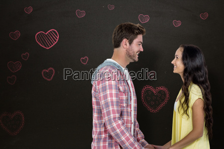 composite image of smiling couple holding