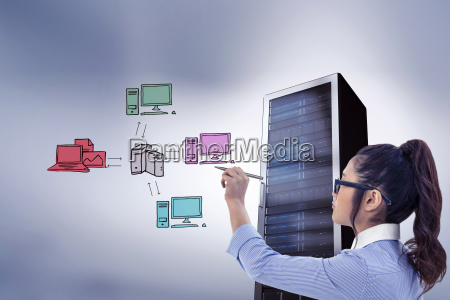 composite image of businesswoman holding disposable
