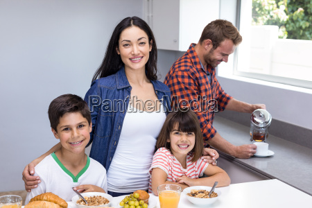 happy family in kitchen