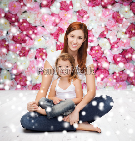 happy mother with little girl
