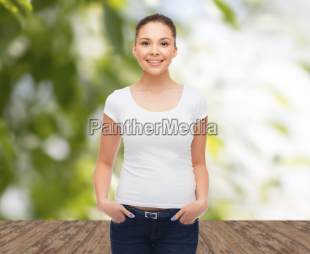 smiling young woman in blank white
