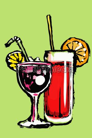 illustration of fresh cocktails against green