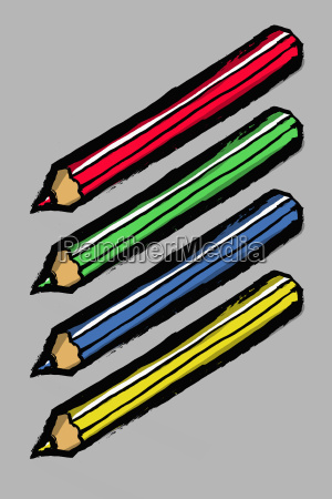 illustration of colored pencils against gray