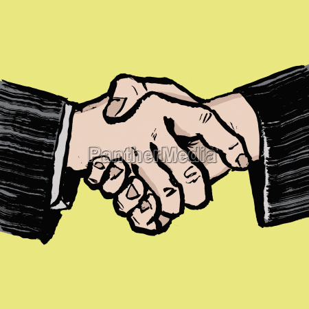 illustration of businessmen shaking hands against