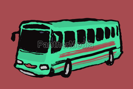 illustration of bus against maroon background