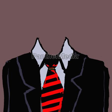 illustration of headless businessman against brown