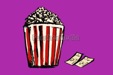 illustration of popcorn box and movie