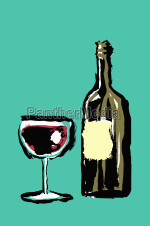 illustration of red wineglass and bottle