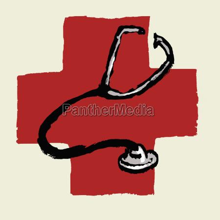 illustratives bild des stethoskops gegen das