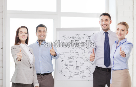 business team with flip board showing