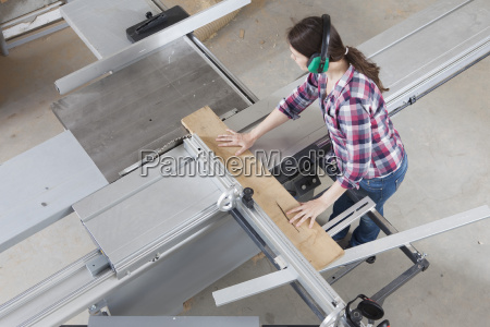 high angle view of female carpenter