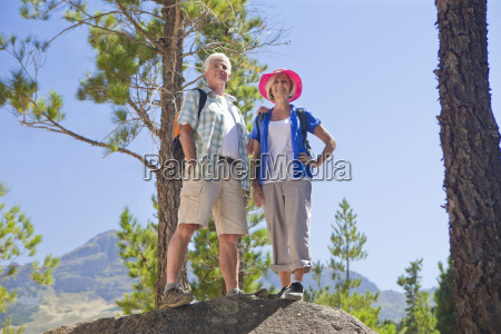portrait of senior couple on mountain