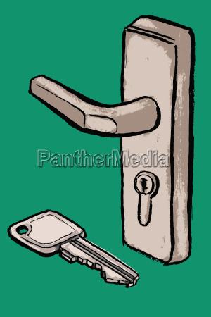 illustration of key and door handle