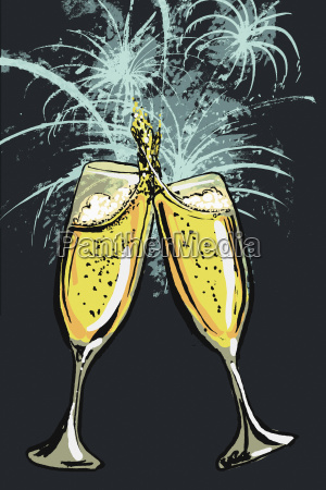 illustration of champagne flutes toasting against