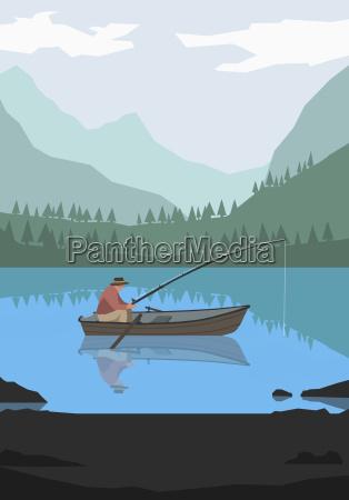 illustration of man fishing in lake