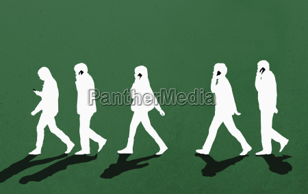 people using phone while walking against