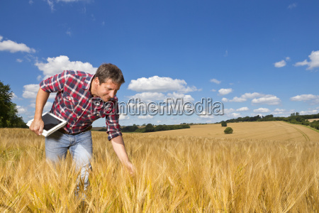 farmer with digital tablet bending to
