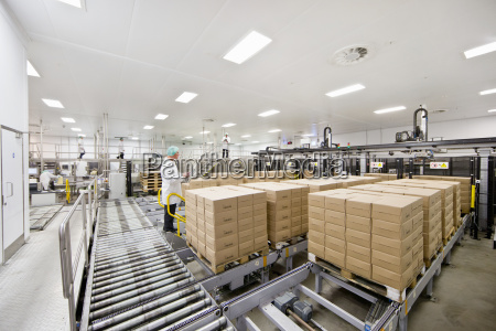 worker behind boxes at food packaging