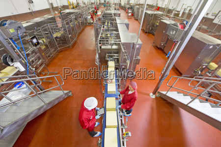 high angle view of workers with
