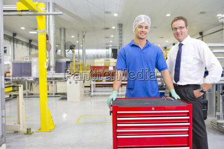 businessman and technician worker smiling at
