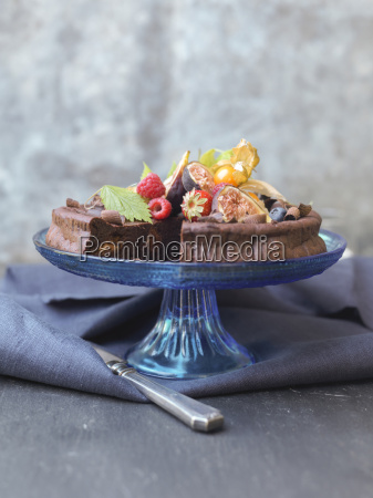 chocolate cake topped with fruit studio
