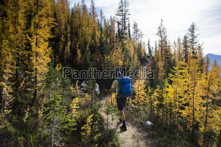 a young man hikes through the