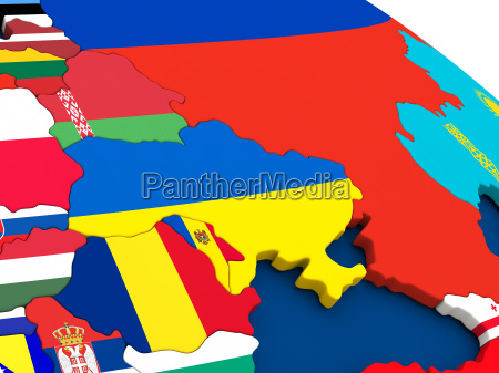 ukraine auf globus mit flaggen