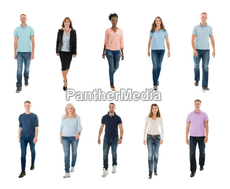 creative people walking over white background