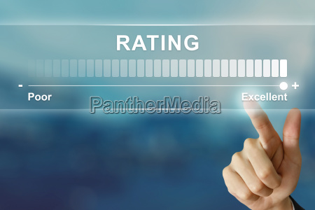 business hand clicking excellent rating on