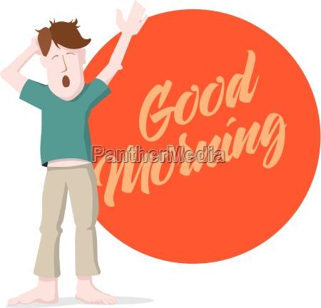 yawning man giving morning message
