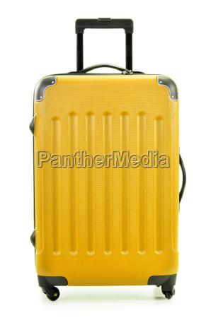 grosse polycarboante koffer isoliert auf weiss