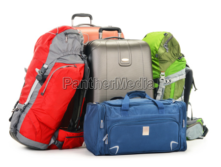 luggage consisting of large suitcases rucksack