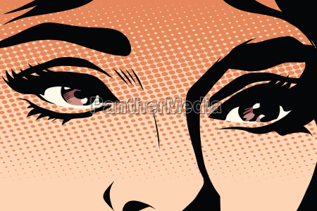 brown eyes retro woman pop art