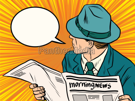 newspaper reader reaction pop art